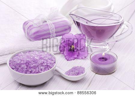 sea salt and essential oils, purple violet. spa
