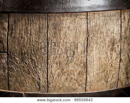 Old oak wine barrel. Close-up shot.