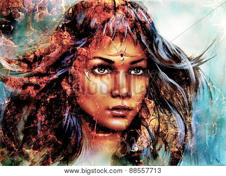 Woman  Mystic Face, Structure Background,fire Effect, Collage