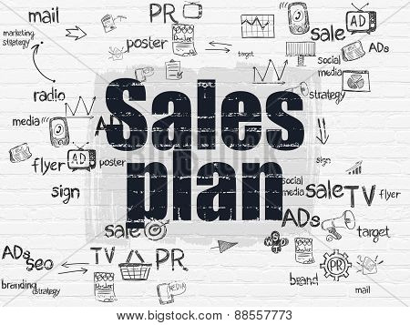 Marketing concept: Sales Plan on wall background
