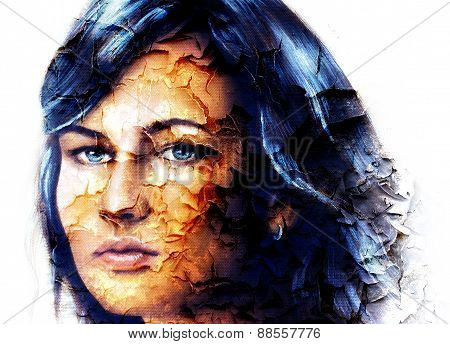 Mystic Face Women, With Structure Crackle Background Effect, Collage. Eye Contact.