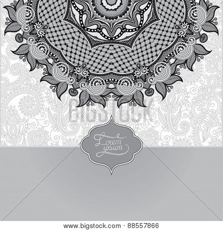 grey islamic vintage floral pattern, template frame