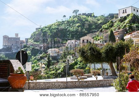 Cityscape Of Savoca Village In Sicily Mountain