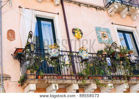Decorated Balcony Of Urban House In Taormina