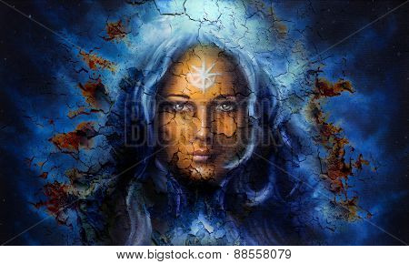 Mystic Face Women, With Structure Crackle Background Effect, With Star On Forehead, Collage. Eye Con
