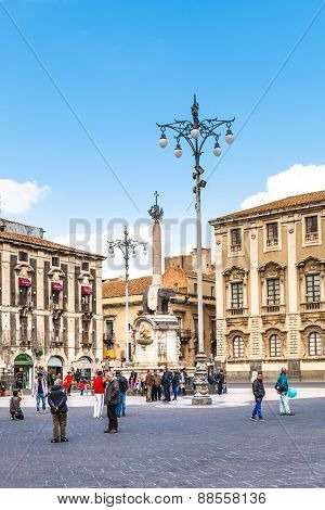 Piazza Del Duomo And Fountain U Liotru, Catania