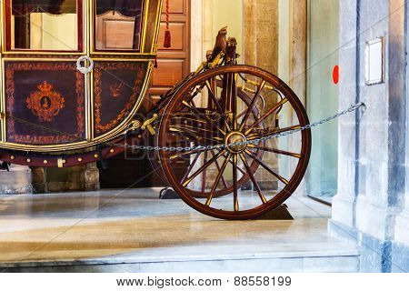 Wooden Coach In Town Hall, Catania