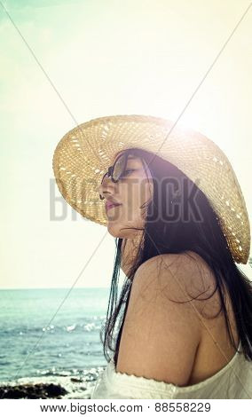 Latin Woman In The Beach
