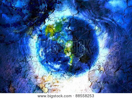 Painting Planet Earth In Outer Space. With Structure Crackle Background Effect