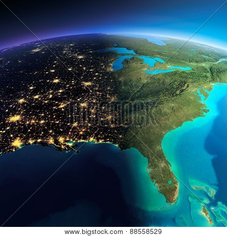 Detailed Earth. Gulf Of California, Mexico And The Western U.s. Statesgulf Of Mexico And Florida