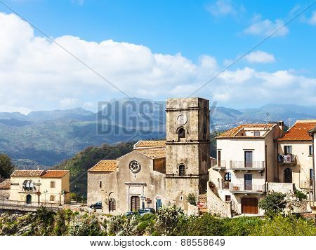 Mother Church In Mountain Village Savoca, Sicily