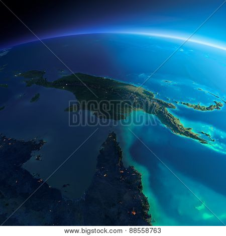 Detailed Earth. Australia And Papua New Guinea