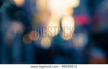 Defocused Blur Bokeh Of Urban At Night