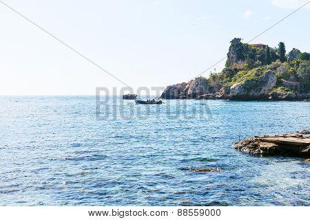 View Ionian Sea Near Isola Bella Beach In Sicily