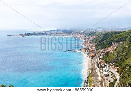 Ionian Sea Coastline And Giardini Naxos Town