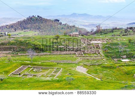 View Of Ancient Morgantina Settlement In Sicily
