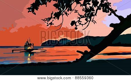 Vector Illustration Of A Sunset Boat Coast Evening
