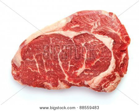 Fresh raw beef steak isolated on white