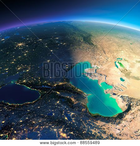 Detailed Earth. Caucasus And The Caspian Sea