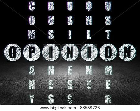 Marketing concept: word Opinion in solving Crossword Puzzle