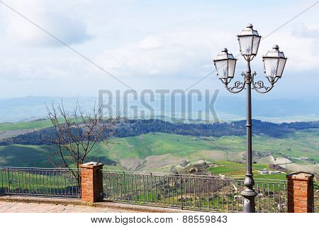 View Of Green Sicilian Hills In Spring From Aidone