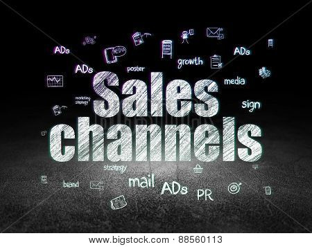 Advertising concept: Sales Channels in grunge dark room