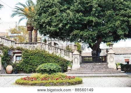 Steps And Garden In Villa Cerami In Catania City