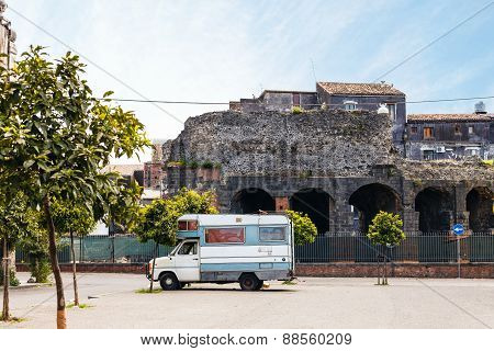 View Of Roman Odeon In Catania