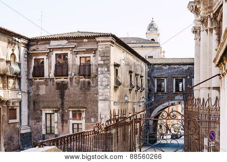 Baroque Style Houses In Catania City, Sicily,