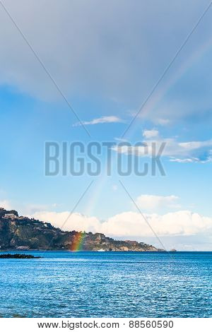 Taormina Cape And Rainbow In Ionian Sea In Spring