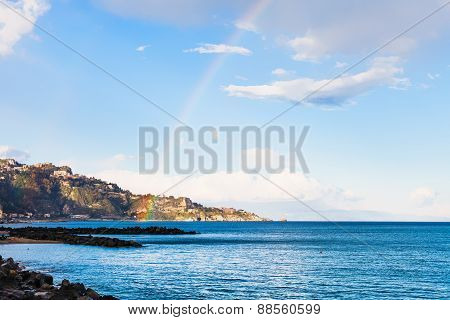 View Of Taormina Cape And Rainbow In Ionian Sea