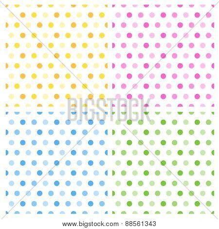 Polka Dot Pattern Collection On White Background