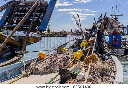Fishing Boat And Fishing Nets