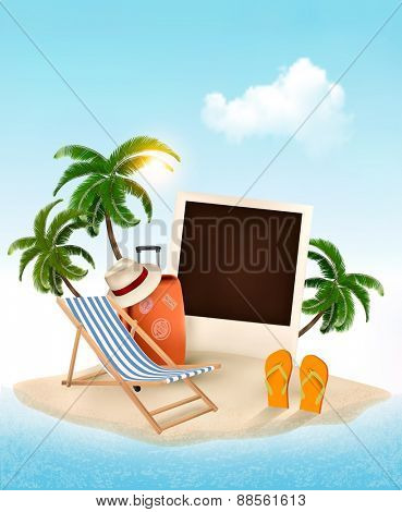 Beach with a palm tree, photo and a beach chair. Summer vacation concept background. Vector.