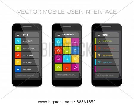 colorful vector mobile user interface design
