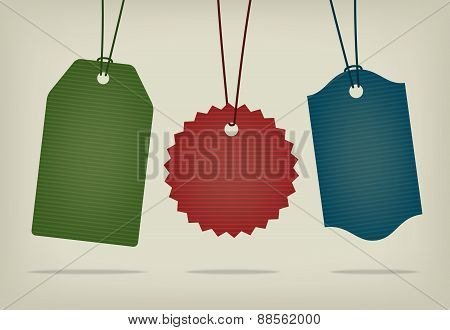 Set of blank textured hanging pricing tags