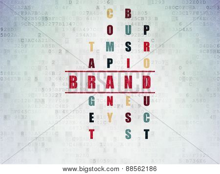 Marketing concept: word Brand in solving Crossword Puzzle