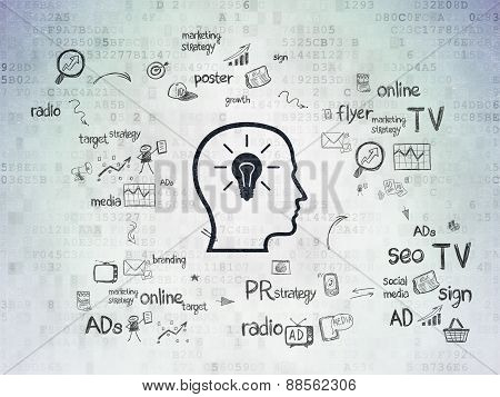 Advertising concept: Head With Lightbulb on Digital Paper background