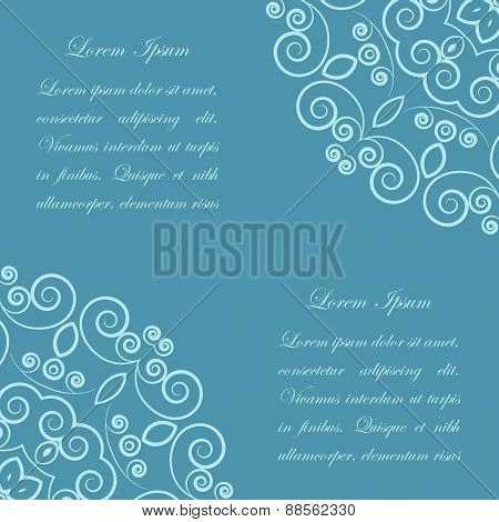 Blue background with ornate pattern