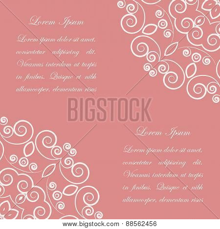Pink background with white ornate pattern