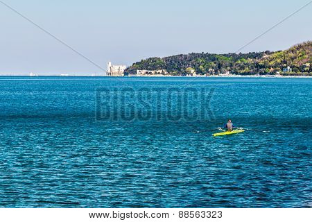 Canoeing In The Evening In Bay Of Trieste