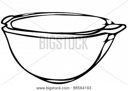 Vector Sketch Porcelain Soup Plate Soup