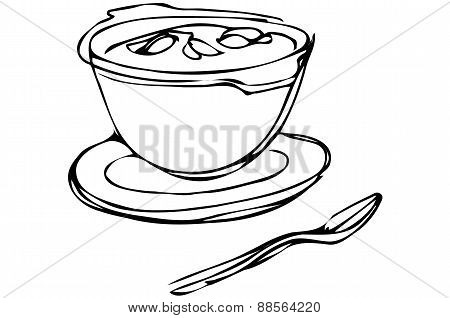 Bowl Of Soup With Herbs And Spoon Lying Nextb