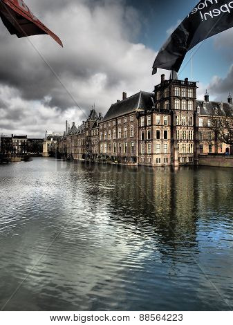 Hofvijver lake and the Binnenhof The Hague