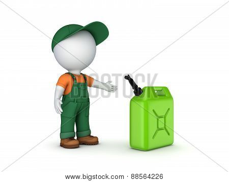 Colorful gasoline jerrycan and 3d small person.