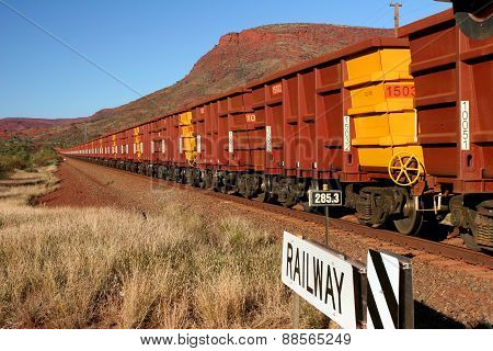 Iron Ore Train with Hundreds of Carriages in Western Australia