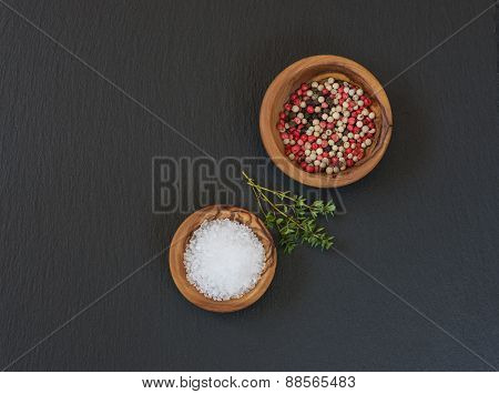 Spices On A Black Slate