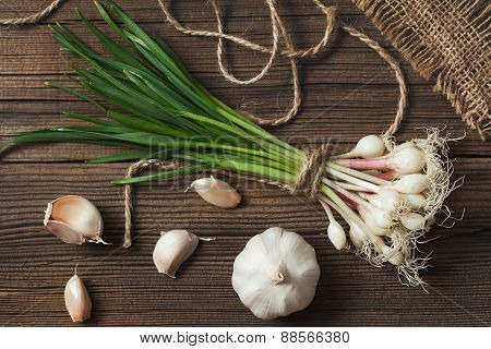 Spring vegetarian young green garlic natural condiment food. Rustic style.