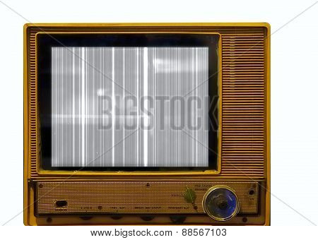 Retro Style Television Set With Picture Problems