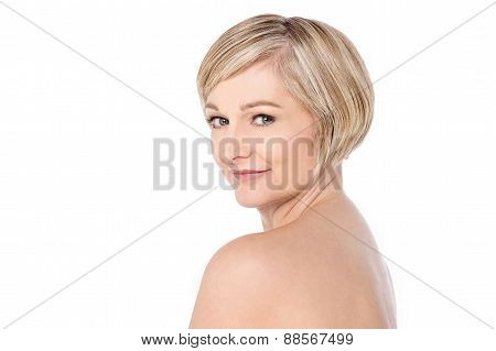 Bare Shoulder Woman Over White
